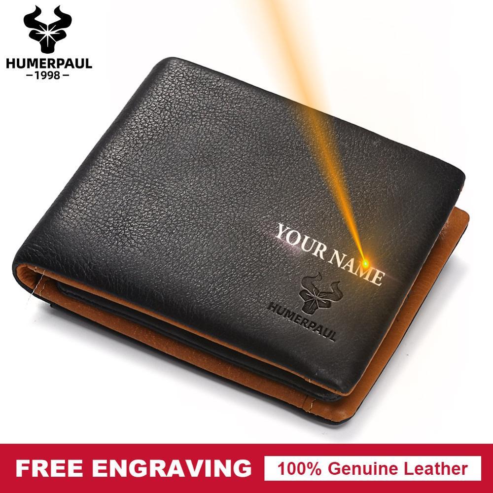 Free Engraving Men's Wallet Leather Luxury Brand Coin Pocket Male Cudan Portomonee Coin Purse Fashion Male Money Pocket  2019