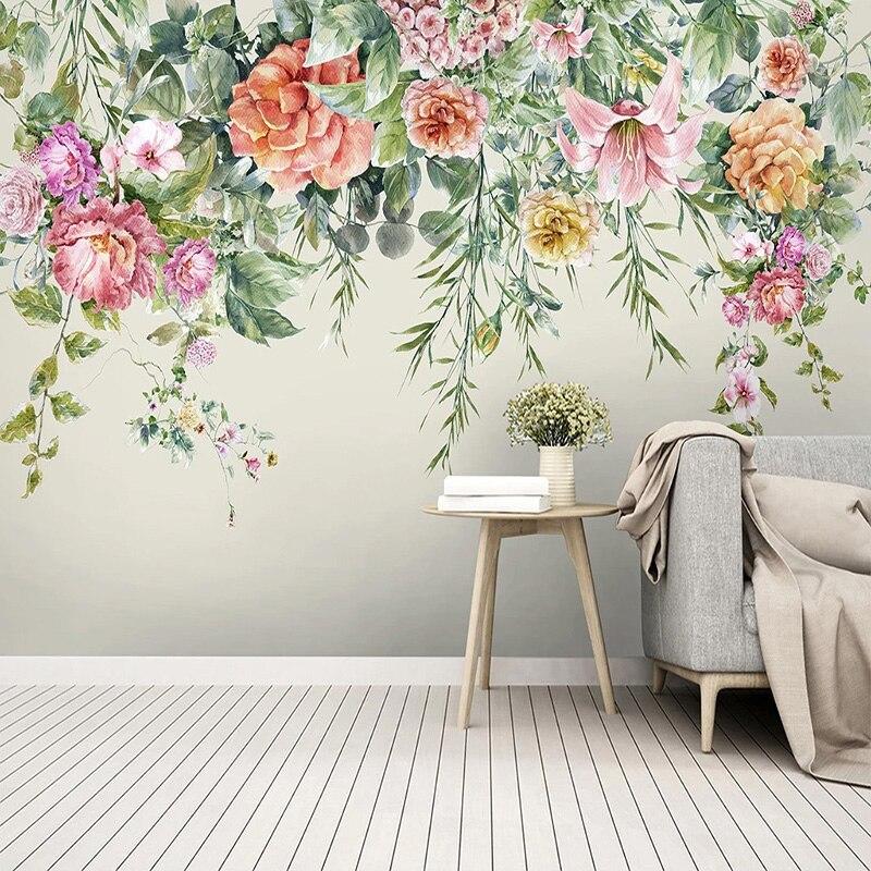 Фотообои 3D Модные Винтажные расписные вручную цветы, фотообои для гостиной, спальни, в пасторальном стиле, домашний декор, настенная бумага для 3 D