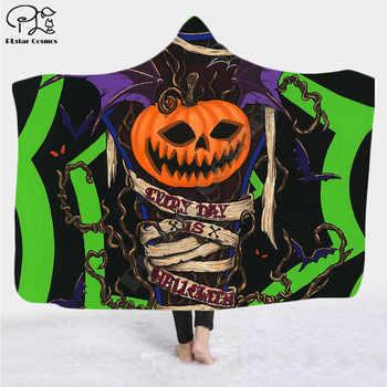 Happy halloween 3d printed Hooded Blanket Adult colorful child Sherpa Fleece Wearable Blanket Microfiber Bedding