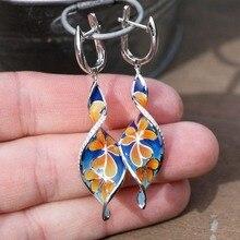 Cute Epoxy Flower Leaf Silver Stud Earrings for Women Fashion Jewelry 2019 New 925