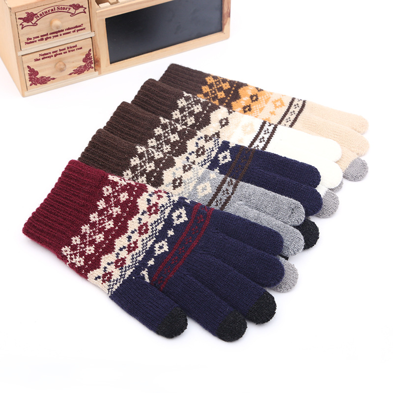 Unisex Winter Gloves, Woven Wool Gloves, Touch Screen Gloves, Men's And Women's Winter Gloves, Patterned Gloves