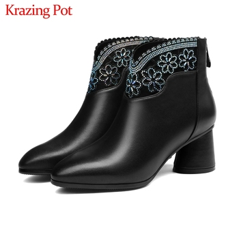 Krazing pot 2019 genuine leather round toe zipper high heels ankle boots flowers decoration oriental keep warm Chelsea boots L09