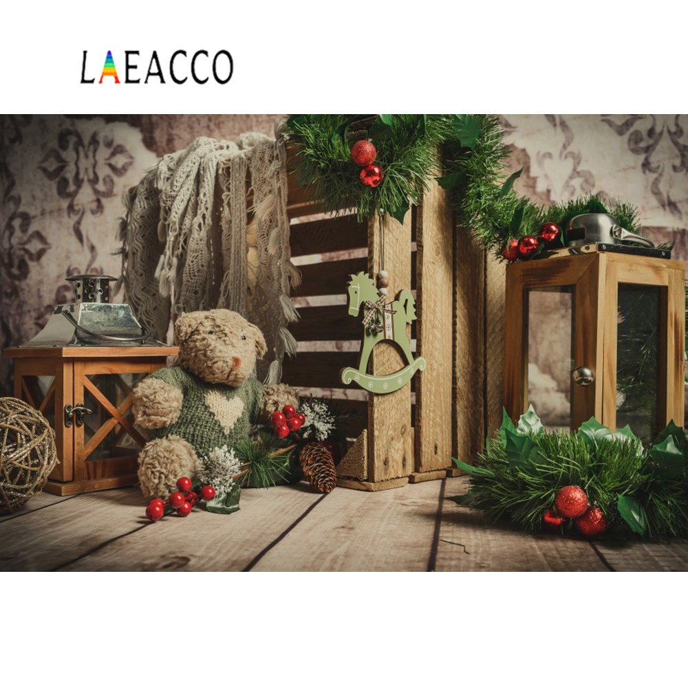Laeacco Baby Teddy Bear Toys Christmas Pine Wooden Board Box Interior Photographic Backdrops Backgrounds Photocall Photo Studio