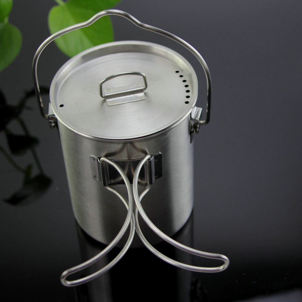 Picnic Portable Hanging Pot Lid Water Cup Food Cooking Outdoor Camping Mug Handle Stainless Steel Hook Coffee Foldable image