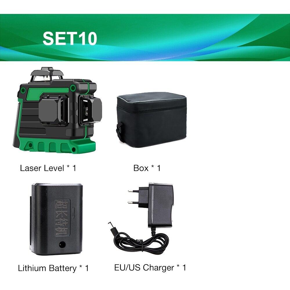 12 линий 3D зеленый лазерный уровень самонивелирующийся 360 градусов Горизонтальные и вертикальные поперечные линии Зеленая лазерная линия с батареей штатива - Цвет: SET10 V12L4