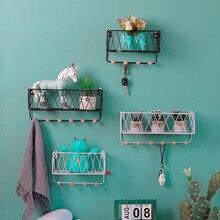 Metal Iron Wooden Storage Rack  Home Wall Hook Mounted Decoration Nordic Shelf DIY Decor