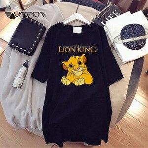 2020 Women T-shirt Dress The Lion King Simba Cartoon Print Tee Summer O Neck Short Sleeve Harajuku Tshirt Mini Dress Vestidos