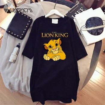 2020 Women T-shirt Dress The Lion King Simba Cartoon Print Tee Summer O Neck Short Sleeve Harajuku Tshirt Mini Dress Vestidos цена 2017