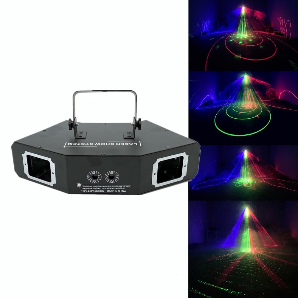 Disco Laser Light RGB Full Color Beam Light Dj Effect Projector Scanner Laser 25in1pattern Animation Stage Lighting