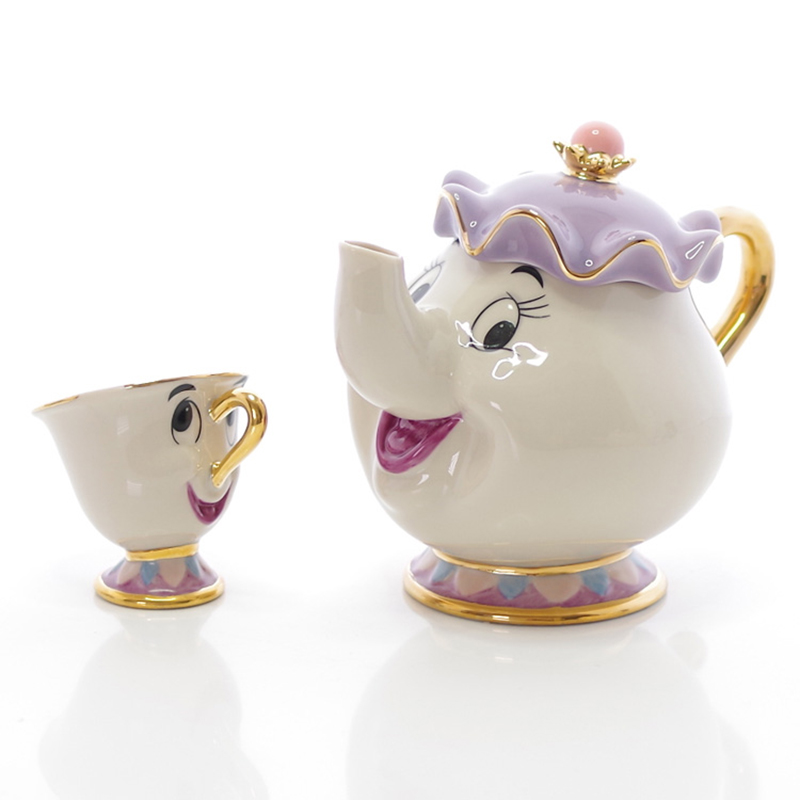 New Cartoon Beauty And The Beast Teapot Mug Mrs Potts Chip Tea Pot Set Cup Sugar Bowl Coffe Pot Lovely Christmas Gift Fast Post