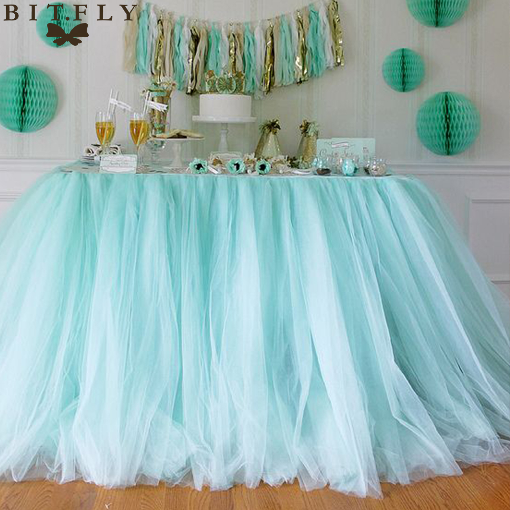 5pcs 100 80cm DIY Tulle Tutu Table Skirt Table skirting Baby Shower Birthday banquet Wedding Decoration