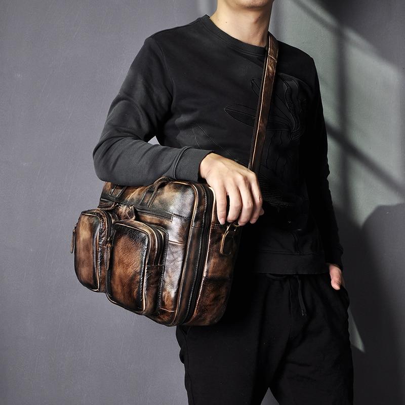 He80099587a1e4739898bab3b82c3327ce Men Oil Waxy Leather Antique Design Business Travel Briefcase Laptop Bag Fashion Attache Messenger Bag Tote Portfolio Male k1013