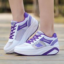 New Mesh Breathable Shakers Woman Spell Colors Spring Summer Platform Sports Shoes Wedges Mujer Fashion Casual Walking Shoes new 2017 spring summer knit women s wedges shoes breathable woven fitness massage swing walking shoes woman footwear