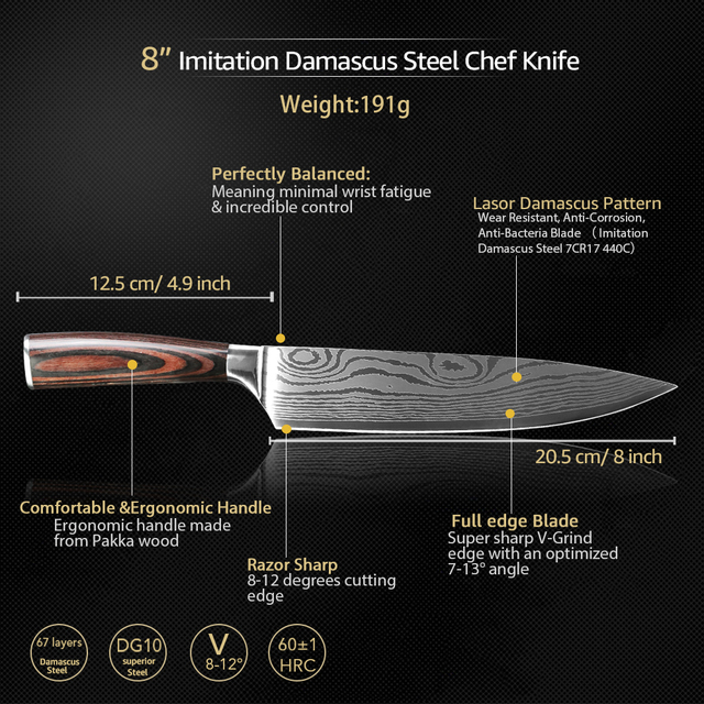 Kitchen Knives 7CR17 Etched Stainless Steel Blades 6