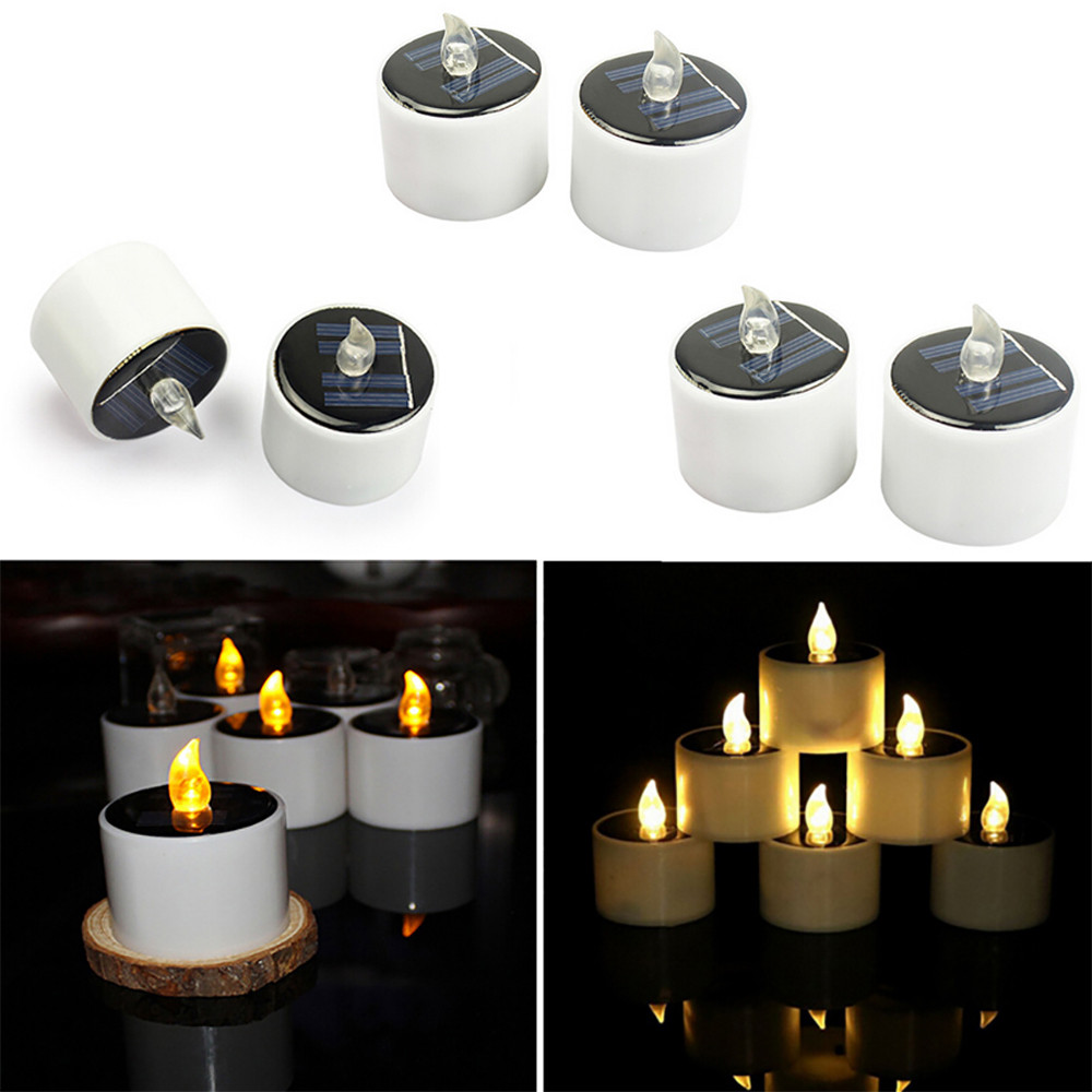 6Pcs LED Candle Light Solar Powered LED Candles Flameless Electronic Solar LED Tea Lights Lamp Wedding Party Romantic Light