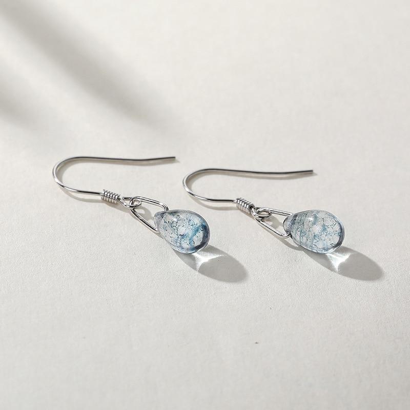 Ruifan Elegant Blue Mermaid Tears Water Drop Real 925 Sterling Silver Earrings For Women Girls Fine Jewelry Accessories YEA388