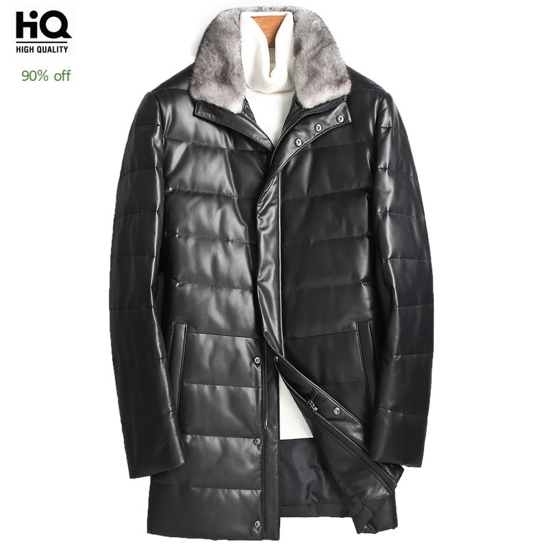 High Quality Luxury Men Jacket Fashion Mink Fur Collar Genuine Leather Jacket 2020 New Winter Slim Fit Warm Outerwear Male M-4XL