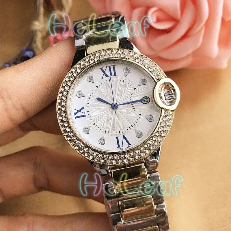 Fashion Brand Women Watches Silver Gold Round Stainless Steel Band Quartz Watch Female Diamond Clock Reloj Mujer Relogios