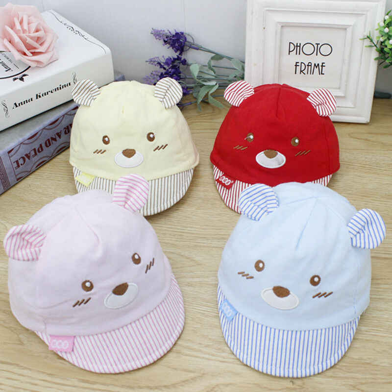 Cute Bear Baby Kids Caps Cotton Soft Baby Girls Boys Caps Summer Beach Hats For Kids Infant Children Sun Hat With Ear