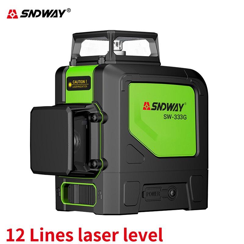 Sndway Hohe präzision green laser level 12 linien 3d lazer ebene selbst nivellierung laser-ebene 360 Vertikale und horizontale nivellierung