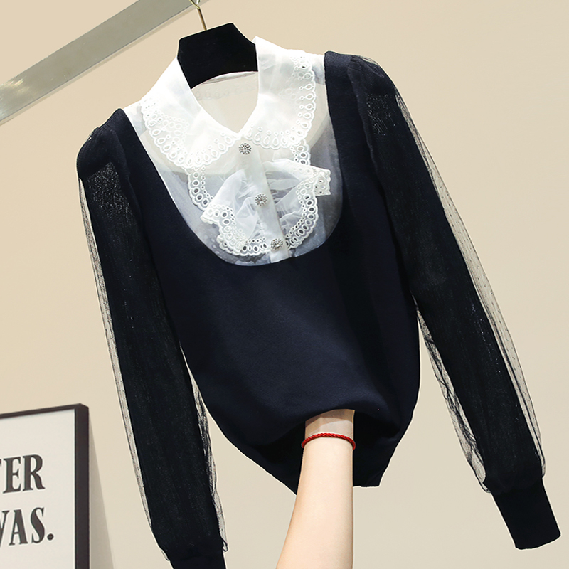 Autumn Blusa Women Sweater Shirt New Fashion Lace Panel Collared Knit Shirt Puff Sleeve Blusas Femme Nancylim Top
