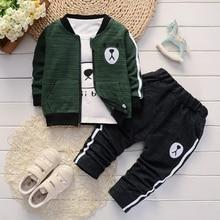 Для малышей, для мальчиков, bibicola Костюмы комплект Демисезонный модное пальто куртка+ футболка и штаны, комплект из 3 предметов для новорожденных, спортивный костюм для малышей, одежда для мальчиков