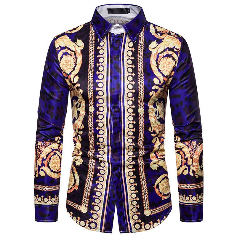 Mens Dress Shirts Long Sleeves Feather Print Vintage New Model Shirts Blouse Man Slim Fit New