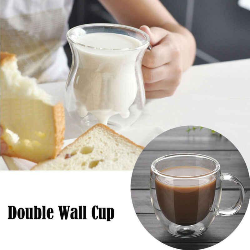 超低価格限定にトップ 50 ホット二重壁カップコーヒーガラス茶マグ断熱マグエスプレッソカップワインビールホット