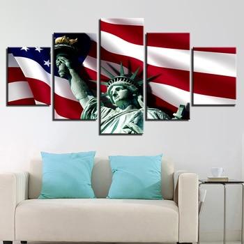 Decoración para las paredes del salón cartel impreso lienzo en módulos imagen 5 piezas bandera americana y Estatua de la libertad marco pintura arte