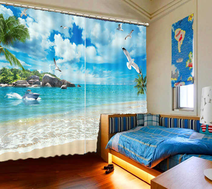 2019 wysokiej jakości różowy zasłona zaciemniająca drzewo kokosowe krajobraz morski salon zasłony okienne do sypialni 3d