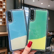 Luminous Neon Phone Case for Huawei P20 P30 P40 Pro MATE 20 30 Lite Pro Glitter Quicksand Cover For Honor 9 10 Lite 20 Pro Capa for huawei p20 lite case with ring holder for huawei mate 20 10 p20 pro p30 lite nova 5 pro coque capa for honor 10 lite cover