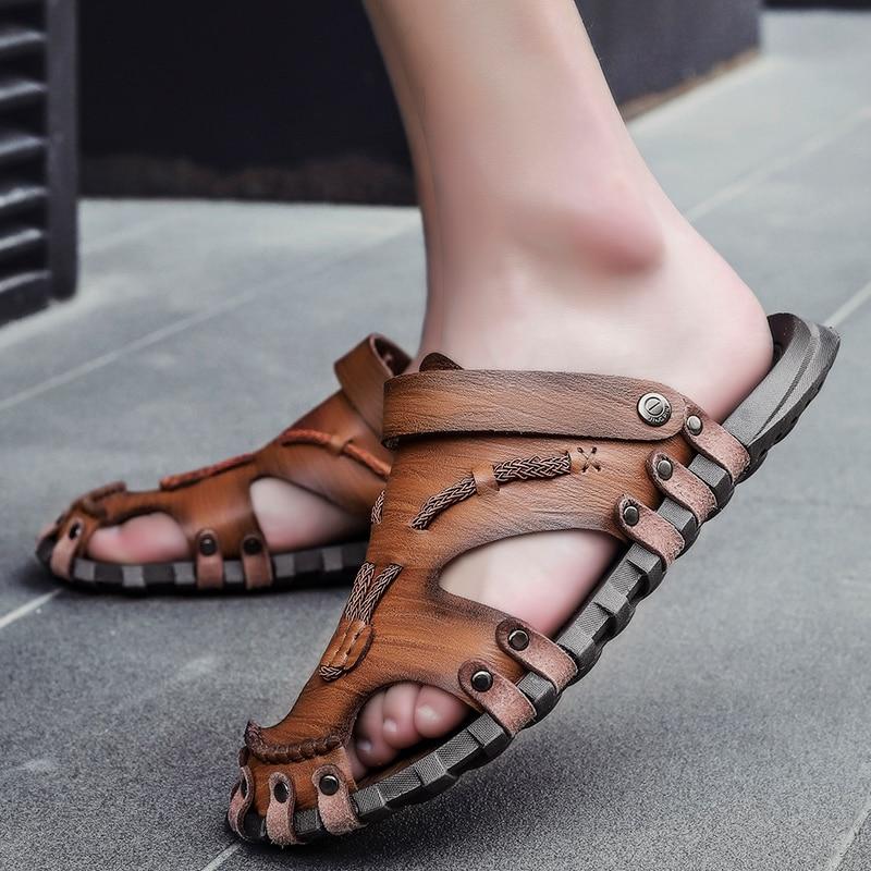 Summer Sandals Men Genuine Leather Casual Shoes Men Sandals Outdoor Moccasins Soft Loafers Fashion Breathablesandals Big Size 48 Leather Bag