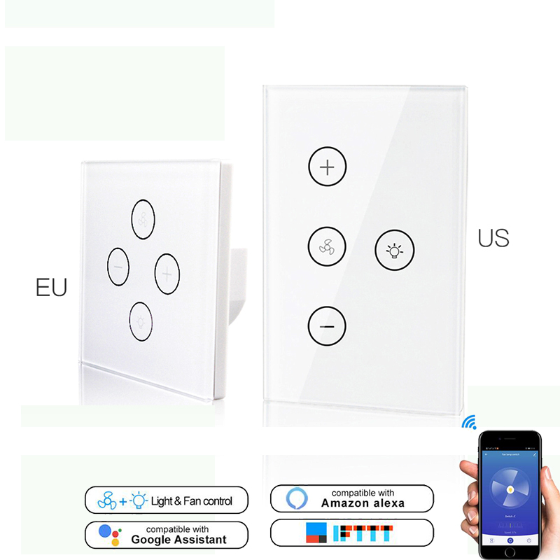 WiFi Smart Ceiling Fan Light Lamp Wall Switch Smart Life/Tuya APP Remote Various Speed Control Works Alexa Echo Google IFTTT