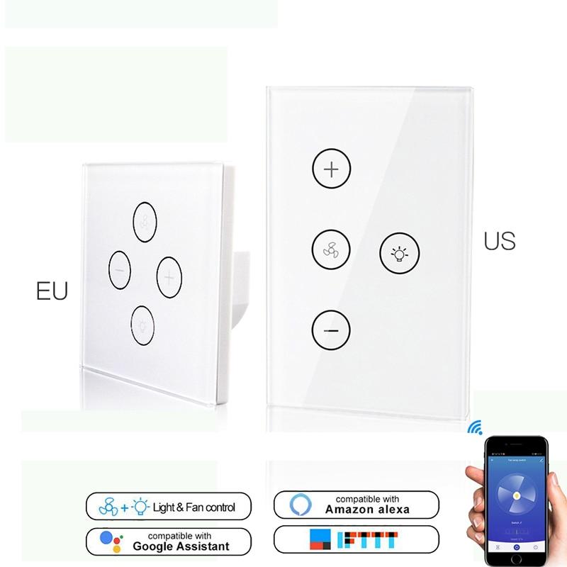 WiFi Smart Ceiling Fan Light Lamp Wall Switch Smart Life/Tuya APP Remote Various Speed Control Works Alexa Echo Google IFTTT
