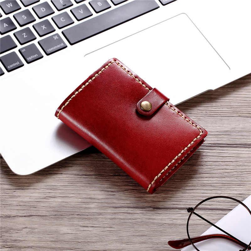 Hecho a mano Crazy Horse tarjetero de cuero genuino funda Vintage tarjetero Mini billeteras de negocios tarjeta de crédito de bolsillo