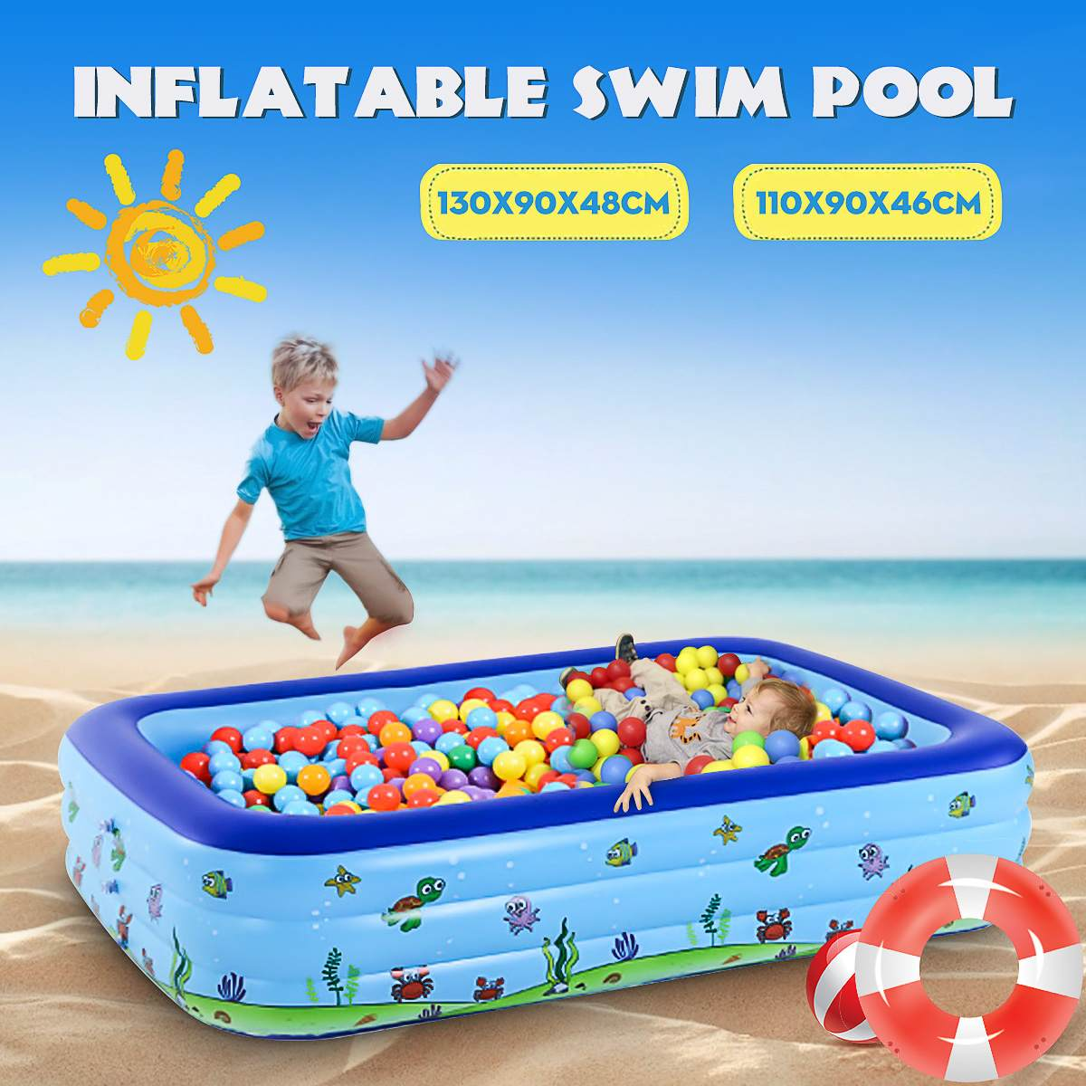 110cm 130cm  Square Children Swimming Pool Child Piscina  Dry Pool Kids Inflatable Tank Outdoor Toy  Children Bathing Tub Ocean