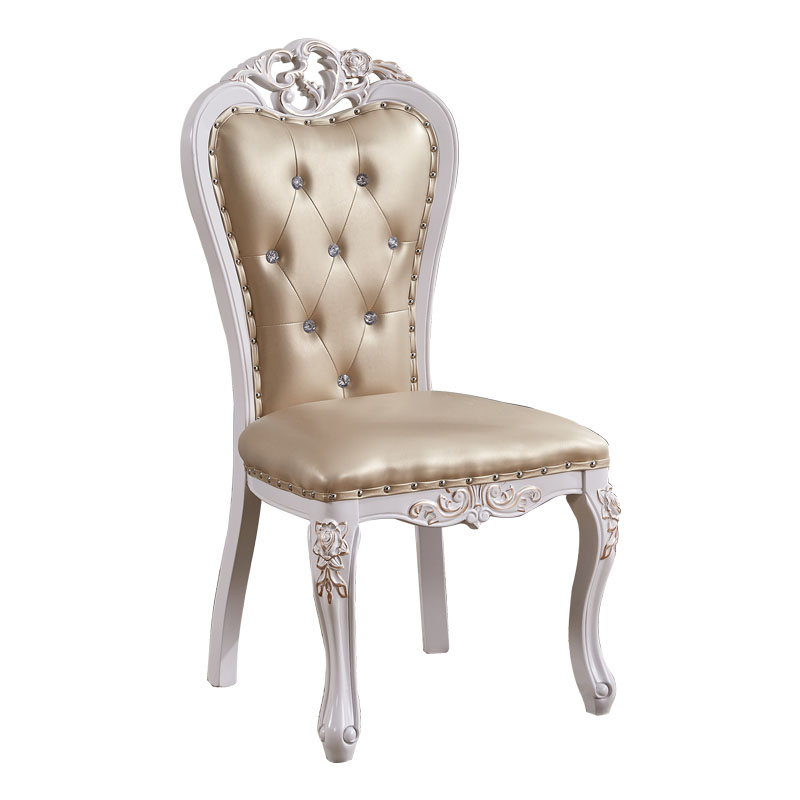 European style solid wood dining chair simple home stool leisure restaurant desk  back  french carved white