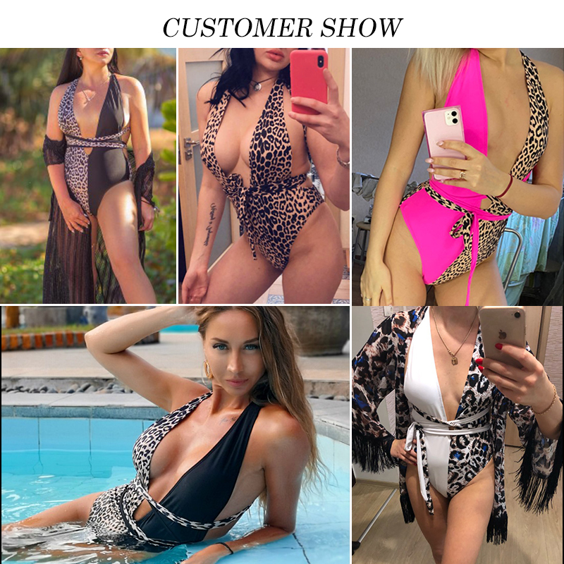 Peachtan Leopard print one piece swimsuit female Deep v-neck bikini 2020 Bandage bathing suit monokini swimwear women bathers 1