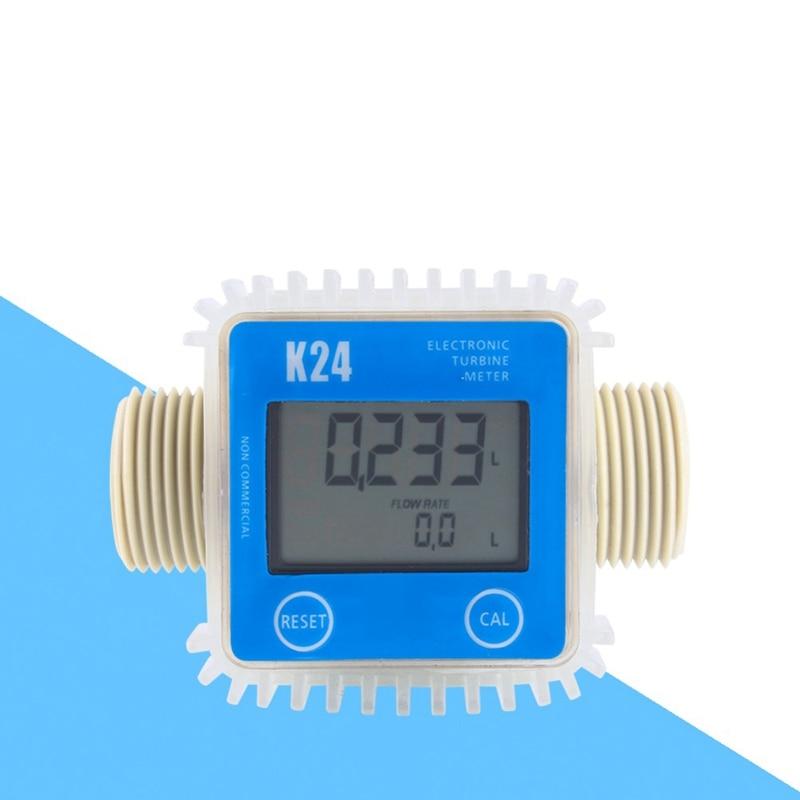 Digital K24 Turbine Flow Meter Water Fuel Flow Water Meter 10-120L Min Flowmeter For Chemicals Water Flow Ultrasonic Flow