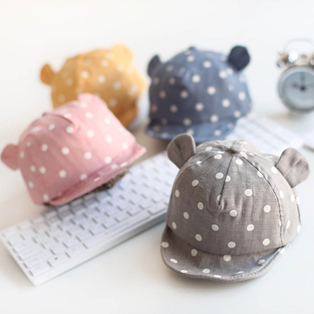 Новорожденные Детские Солнцезащитные головные уборы шапка для малыша, Милая Детская кепка в горошек, Кепка от солнца для мальчиков и девоче...