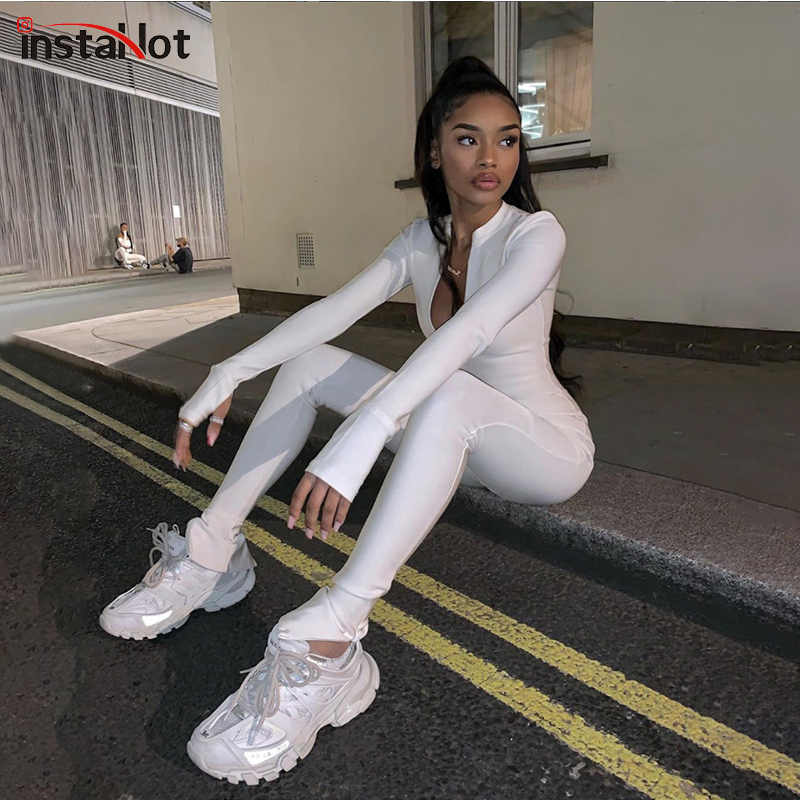 InstaHot Zipper Sexy Skinny Jumpsuit 2020 Fashion Spring Ladies Playsuit Streetwear Casual Long Sleeve Mock Neck Jumpsuit Outfit