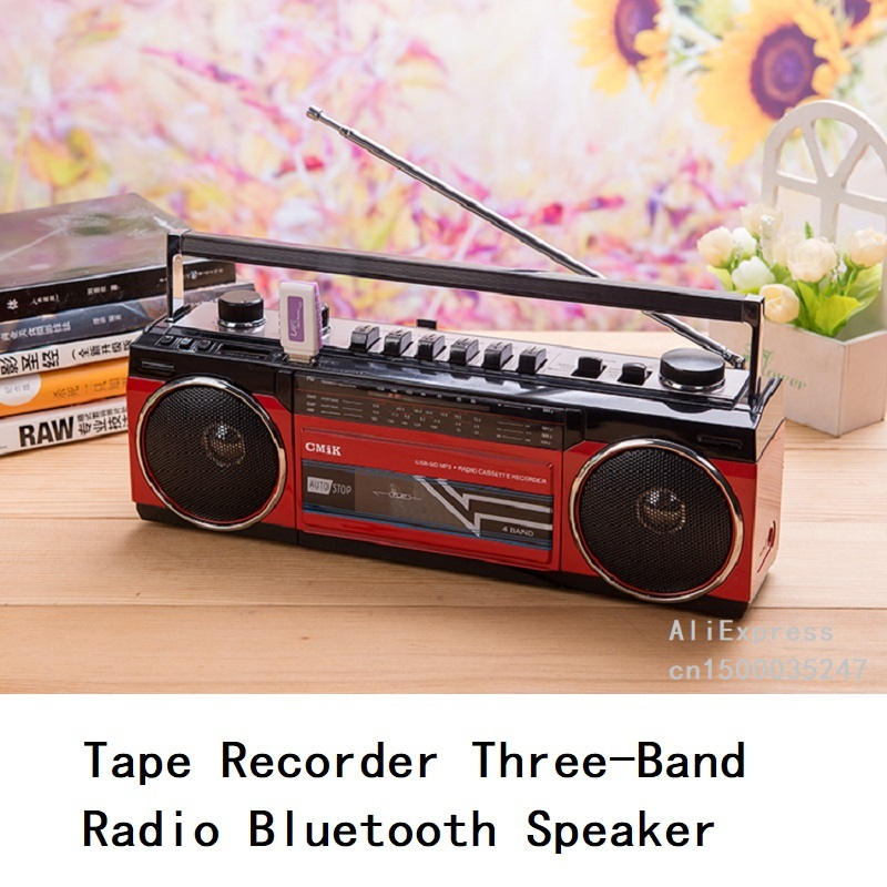 Four Band Radio Tape Recorder U Disk SD Card Playback With Bluetooth Stereo Speaker Two Garden Plug Power Line