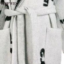 2020 zima nowy dwustronny kaszmirowy płaszcz żeński czarne i białe napisy z długi szal do opatulania się płaszcz L166 tanie tanio HNFWEC Z wełny Plac collar Flare rękawem Pełna Luźne Wełna mieszanki WOMEN Koronki wool Streetwear Charakter Winter 2019