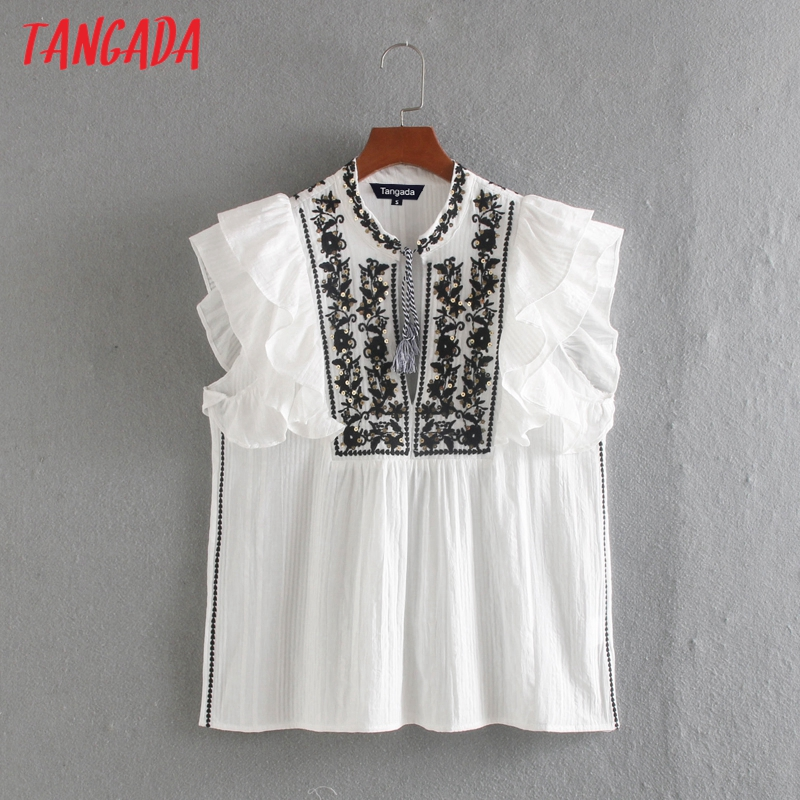 Tangada 2020 Women Embroidery Ruffle Cotton Sleeveless Shirts Tassel Female Casual Summer Tops Blouses CE309