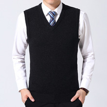 2018 Autumn And Winter New Style MEN #8217 S Sweater Vest Men Solid Color Wool Business MEN #8217 S Waistcoat V-neck Middle-aged Dad- tanie tanio Wash And Wear Treatment Al574476907360