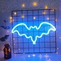Letrero de neón con forma de murciélago, lámpara de LED neón colorida, lámpara de noche para habitación de niños, Bar, vacaciones, fiesta de Navidad, boda, decoración de pared del hogar