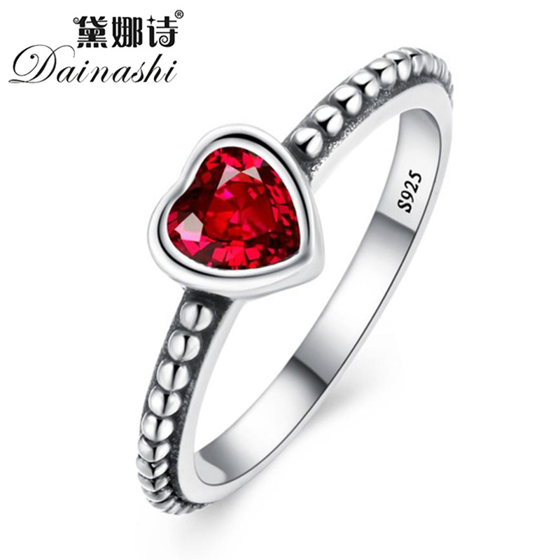 Dainashi Fashion 3 Colors Rings Silver 925 Ring Cute Heart Romantic Finger Ring For Women Engagement Ring Wedding Jewelry Gift