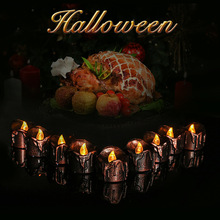 12 Pcs Painted LED Candles Home Decoration Halloween Party Electronic Tealight Candle Led Smokeless For Festival