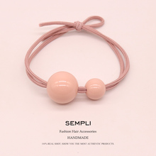 Sempli High Elasticity Beads For Girls Hand Knotted Women Elastic Hair Bands Kid Children Headwear Rubber Accessories