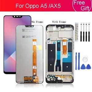 """Image 1 - עבור oppo A5 LCD תצוגת מסך מגע digitizer עצרת עם מסגרת עבור oppo AX5 מסך החלפת חלקי תיקון 6.2"""""""